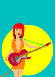 Girl playing electric guitar. In a spotlight vector illustration