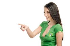 Sexy girl pointing in front. Stock Images