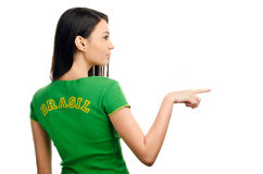 girl pointing on the side. Royalty Free Stock Images