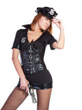 Sexy girl in police uniform Stock Photo