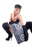 Sexy girl posing with audio equipment. Stock Photography