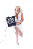 Sexy girl posing with audio equipment Royalty Free Stock Photography