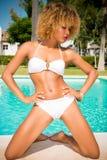 Sexy Girl Posing Next to Swimming Pool Royalty Free Stock Photos