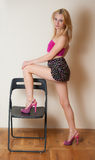Sexy Girl Posing. Pretty sexy girl with blond hair posing in pink top and short skirt Royalty Free Stock Photo