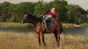 girl posing to the camera on horse at sunset. stock video