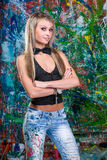 Sexy girl posing of variegated background Royalty Free Stock Images