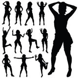 Sexy girl posing vector black silhouette Royalty Free Stock Photography