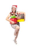 Sexy girl with present boxes Royalty Free Stock Photo