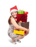 Sexy girl with present boxes Stock Photography