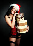Sexy girl with presents Royalty Free Stock Image