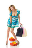 Sexy girl with presents Royalty Free Stock Photos