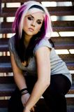 Girl Punk Fashion Model. Girl Punk Goth Fashion Model sitting on fire escape stock images