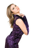 Sexy girl in a purple dress Stock Photo