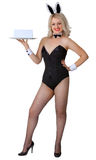 Sexy girl with rabbit ears and name sign on a tray Royalty Free Stock Photography