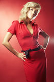 Sexy girl in red blouse Royalty Free Stock Image
