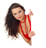 Sexy girl with red display Royalty Free Stock Photo