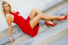 Girl in Red dress stock images
