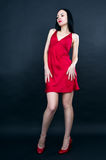 Sexy girl in red dress Stock Photo
