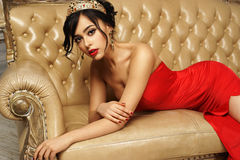 Sexy girl in red dress Royalty Free Stock Image