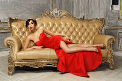 Sexy girl in red dress Royalty Free Stock Images