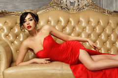 Sexy girl in red dress Royalty Free Stock Photo