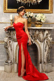 Sexy girl in red dress Royalty Free Stock Photos