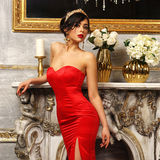 Sexy girl in red dress Stock Photos