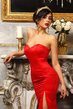 Sexy girl in red dress Stock Photography
