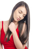 Sexy girl in red dress sleeping. Stock Photography