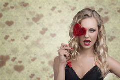 Sexy girl with red lollipop Stock Image