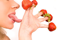 girl with red strawberry isolated on white Royalty Free Stock Image