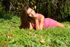 girl resting on grass Royalty Free Stock Photo