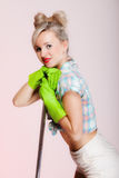 Sexy girl retro style, woman housewife cleaner with mop. Sexy girl retro style with mop, woman housewife cleaner in domestic role. Traditional sharing household Stock Image