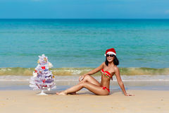 Sexy girl Santa in bikini on a beach fir-tree Royalty Free Stock Photos