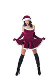 Sexy girl in Santa Claus role-playing costume Stock Images