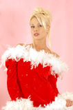 Girl santa clause. Santa clause blond girl royalty free stock photo