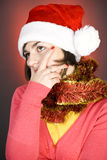 A sexy girl in Santa Hat Stock Image