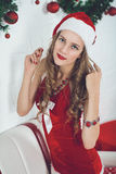 girl Santa royalty free stock image