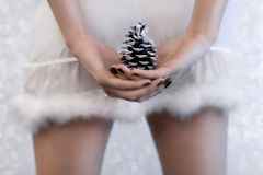 Sexy girl in a short fur trimmed xmas skirt. Close-up of a sexy girl in a short fur trimmed xmas skirt holding a cone Stock Images