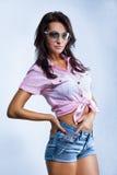 Sexy girl in short shorts Royalty Free Stock Photos