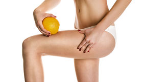 Sexy girl shows cellulite and orange Royalty Free Stock Photos
