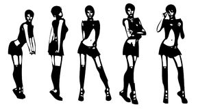 Sexy girl silhouettes Stock Image