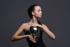 Sexy girl with silver mask Stock Images