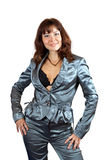Sexy girl in silver suit Royalty Free Stock Image