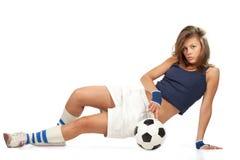 Sexy girl with soccer ball Stock Photos