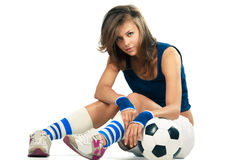 Sexy girl with soccer ball Royalty Free Stock Images
