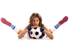 Sexy girl with soccer ball Stock Photo