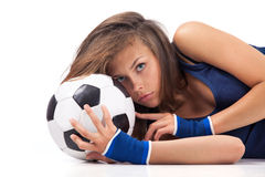 Sexy girl with soccer ball Stock Photos