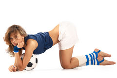 Sexy girl with soccer ball. Sexy girl doing fitness with soccer ball over white background Stock Photography