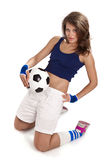 Sexy girl with soccer ball Royalty Free Stock Photos